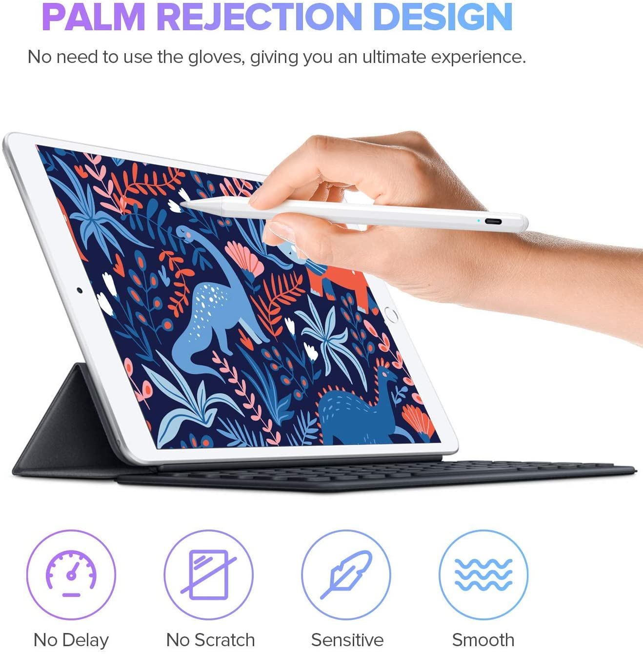 Upgraded Version ,iPad 6th//7th Gen,iPad Mini 5th Gen,iPad Air 3rd Gen for Precise Writing//Drawing JAMJAKE Active Pencil Compatible with 2018-2020 11//12.9 Inch Stylus Pen for iPad with Palm Rejection Apple iPad Pro